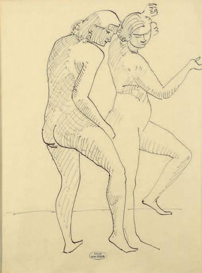 André DERAIN (1880-1954) Deux modèles nus dansant Dessin à l'encre sur papier calque,...