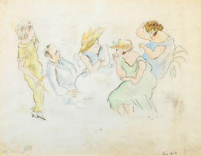 Jules PINCAS dit PASCIN (1885-1930) Au café, Paris, 1924 Aquarelle sur traits d'encre,...