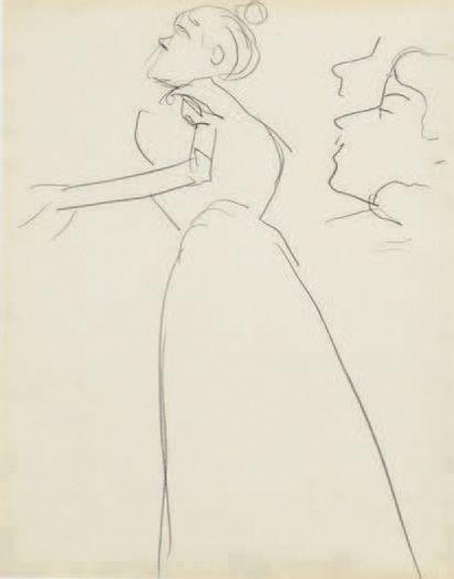 Albert Marquet (1875-1947) Femme de profil et étude de visage Dessin double face...