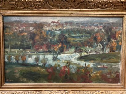 Lucien ADRION (1889-1953) The meandering river Oil on canvas, signed lower left....