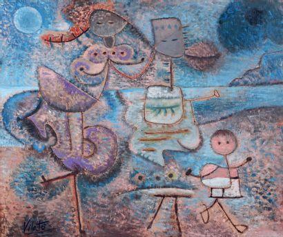 Javier VILATO RUIZ (1921-2000) L'enfant sur la plage Huile sur toile, signée en bas...