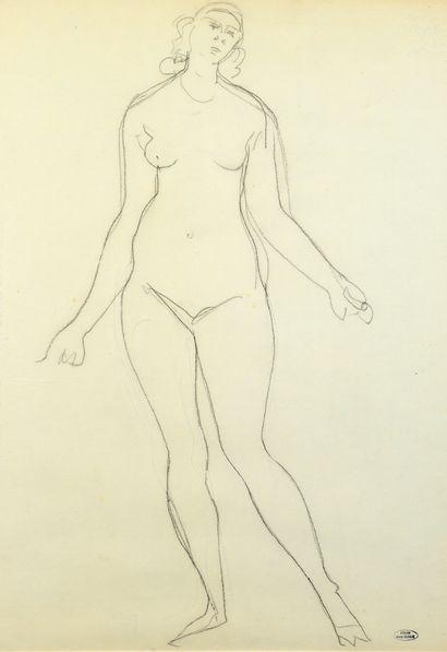 André DERAIN (1880-1954) Femme nue debout Dessin au crayon noir, porte le timbre...
