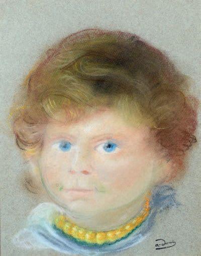 André DERAIN (1880-1954) Portrait de Boby au collier Pastel sur papier teinté, porte...