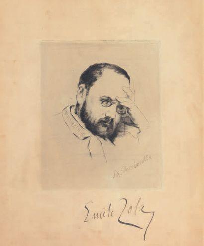Marcelin DESBOUTIN (1823-1902) Portrait d'Emile Zola Eau forte, signée dans la planche...