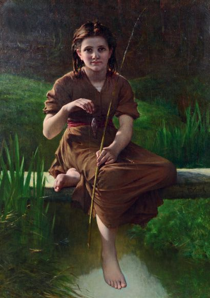 Pierre Louis Joseph de CONINCK (1828-1910) La jeune pêcheuse Huile sur toile, signée...