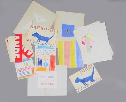 Albert CHUBAC (1925-2008) Sans titre - Composition, chat Ensemble de dix crayolors,...