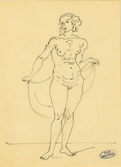 André DERAIN (1880-1954) Nu debout au voile Dessin à l'encre sur papier calque contrecollé...