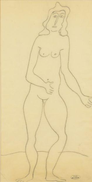 André DERAIN (1880-1954) Nu debout Dessin au crayon noir sur papier calque contrecollé...