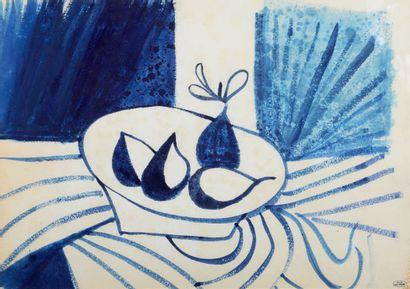 André DERAIN (1880-1954) Nature-morte au compotier de poires Lavis d'encre bleu,...