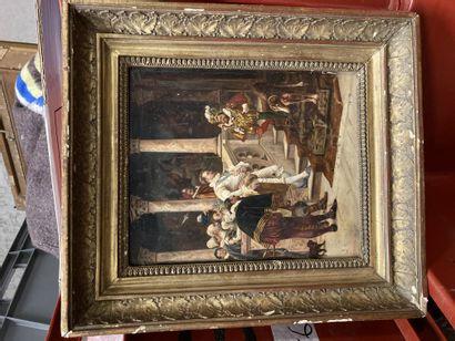 Eduardo ZAMACOIS Y ZABALA (1842-1871) At the court of the King of Spain Oil on panel,...