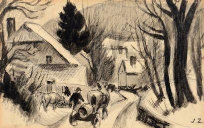 Jules Emile ZINGG (1882-1942) Attelage sur la route du village Crayon et encre, signé...