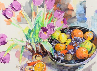 Samuel Buri (né en 1935) Tulipes et fruits, 1985 Aquarelle, signée et datée 85 en...