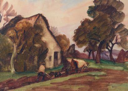 Jules Emile ZINGG (1882-1942) Paysan labourant Aquarelle gouachée, porte le timbre...