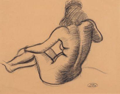 André DERAIN (1880-1954) Raymonde nue assise de dos Dessin au crayon noir et à l'estompe,...