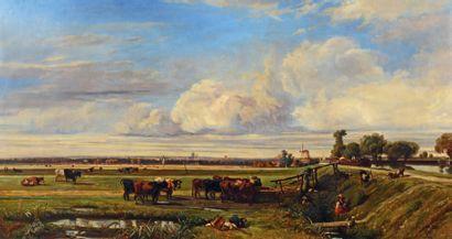 Jules ANDRÉ (1807-1869) La gardienne de troupeau Huile sur toile, signée en bas à...