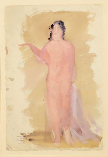 André DERAIN (1880-1954) Le nu rose Gouache, porte le timbre de la signature en bas...