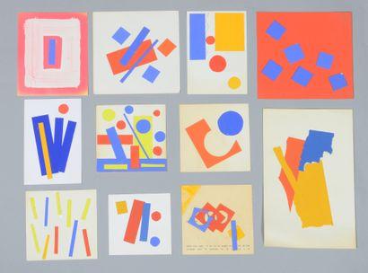 Albert CHUBAC (1925-2008) Sans titre Ensemble de dix-neuf collages. Entre 10,5 x...