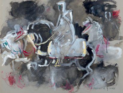 Hassan EL GLAOUI (1924-2018) Cavaliers arabes Gouache sur papier teinté, signée en...