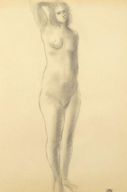 André DERAIN (1880-1954) Femme nue debout une main derrière la tête Dessin au crayon...