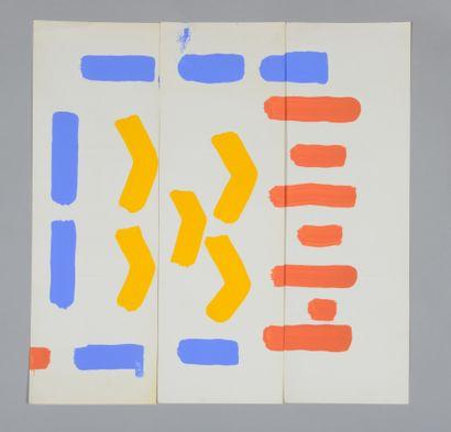 Albert CHUBAC (1925-2008) Sans titre Dix-sept gouaches. 15 x 44,5 cm chaque