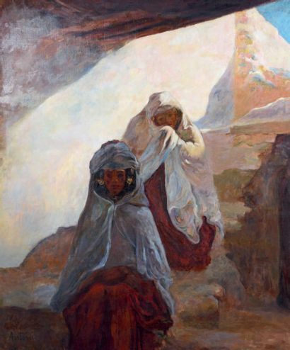 Louis Ferdinand ANTONI (1872-1940) The rest of two Berbers Oil on canvas, signed...