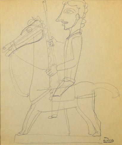 André DERAIN (1880-1954) Étude de cavalier Dessin au crayon noir double face porte...