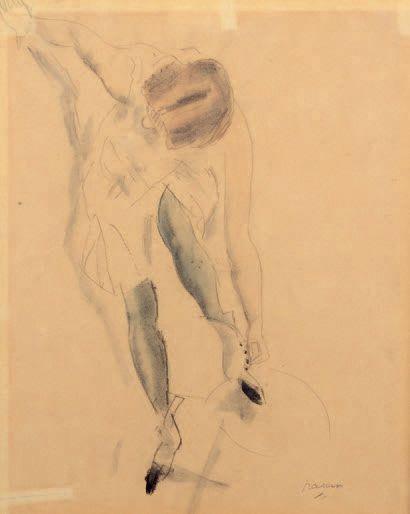 Jules PINCAS dit PASCIN (1885-1930) Young Woman with Booties, Paris, 1912 Black pencil...