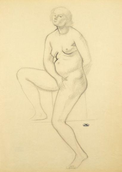 André DERAIN (1880-1954) Femme nue assise Dessin au crayon noir et à l'estompe, porte...