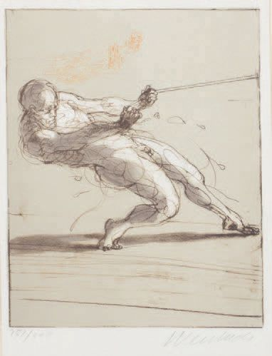 Claude WEISBUCH (1927-2014) Sportsman pulling on a rope Lithograph in colours, signed...