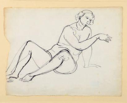 André DERAIN (1880-1954) Étude de modèle nu assis Dessin à l'encre, porte le timbre...