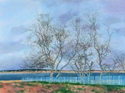 Michel CIRY (1919-2018) La palissade bleue, 1989 Aquarelle gouachée, signée et datée...