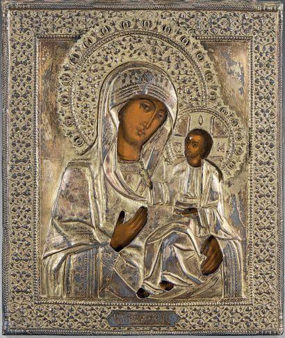 ICÔNE de la Mère de Dieu Iverskaya Tempera...
