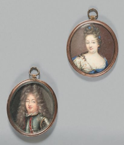 ÉCOLE FRANÇAISE de la fin du XVIIe siècle Portrait d'un homme en cuirasse et de son...
