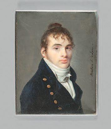 Ferdinand MACHERA (Dôle, 1776 - Lyon, 1843) Portrait of a young man Rectangular miniature...