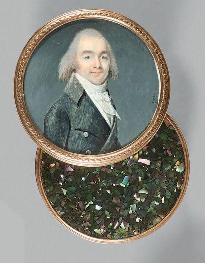 Joseph BOZE (Martigue, 1745 - Paris, 1826) Boîte ronde en bois recouverte d'éclats...