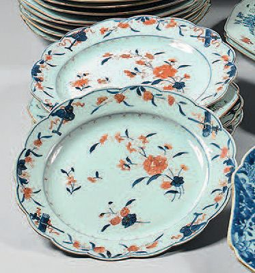 Quatre assiettes en porcelaine de Chine,...