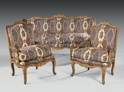 Mobilier de salon composé d'un canapé à triple...