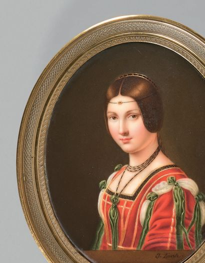 J.LERASLE pour la Manufacture de NAST La Belle Ferronnière, after Leonardo da Vinci...