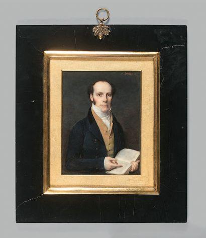Frédéric DUBOIS (actif entre 1780 et 1819). Portrait d'homme au livre, 1818. Miniature...