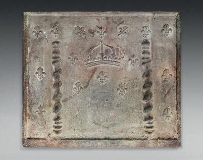 Importante plaque de cheminée en fonte de...