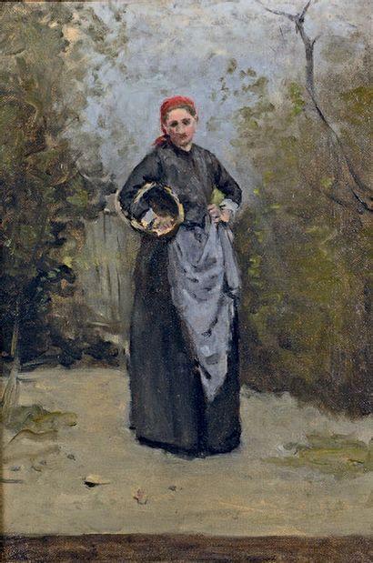 STANISLAS LEPINE (1835-1892) La femme de l'artiste dans son jardin, vers 1872-1873...