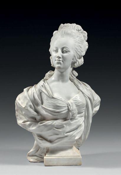 Buste en marbre blanc de Carrare représentant...