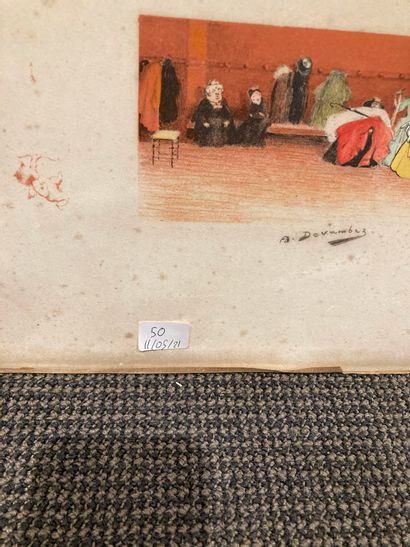 André DEVAMBEZ - Le vestiaire - Epreuve d'artiste signé - 2/50 (tâches et déchirures)...