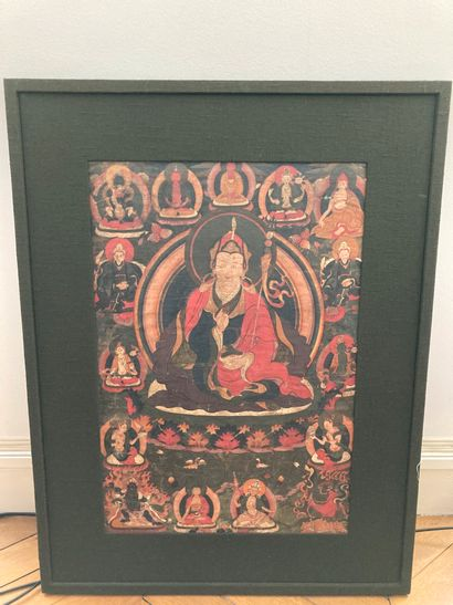 Tanka du Tibet  56 x 38 cm à vue  usures,...