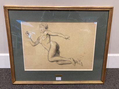 Dessin pierre noire et crayon blanc dans un cadre en bois doré, Nu féminin  23 x...