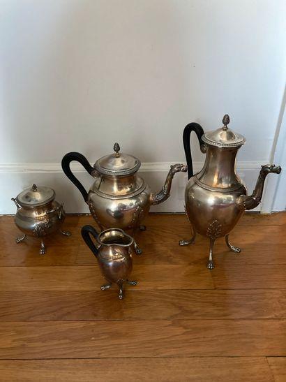 Service à thé et café, 4 pièces, en argent...