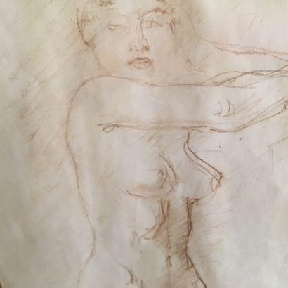 C. DESPIAU  Nu féminin  Dessin au crayon signé en bas à droite et encadré  Dim.:...