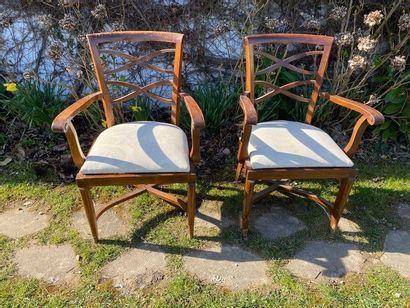 Paire de fauteuils en bois naturel. 20ème...