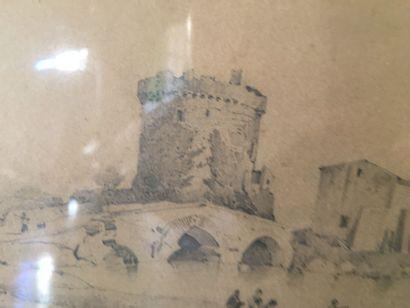 Ecole FRANCAISE, 1830  Pêcheurs près d un pont à tour  Crayon noir. Porte une inscription...