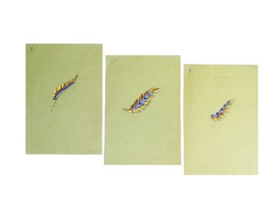 BOUCHERON Paris  Lot de 3 planches de projets de bijoux gouachés sur calque, représentant...